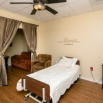 The patient rooms include space for family members.
